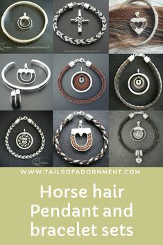 There are so many pendant and bracelet options for horse hair at Tails of Adornment Horse Hair Jeweller that you can customize your own set. Hair Keepsake, Horse Hair Jewelry, Equestrian Jewelry, Sterling Sliver, Bracelet Set, Cross Pendant, Brooch, Horses, Jewels