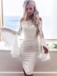Hollow Out Floral White Lace Dresses Off Shoulder Strapless Mini Dress Women Pencil Bodycon Party Dress Vestidos Color WHITE Size S White Homecoming Dresses, Prom Dresses, Wedding Dresses, Midi Dresses, Fitted Dresses, Pencil Dresses, Wedding Outfits, Dress Prom, Formal Dress