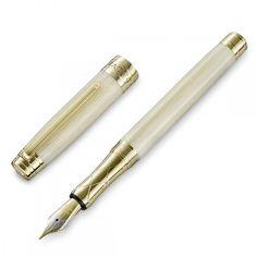 Fountain Pen Ivory Resin 18K Gold Nib