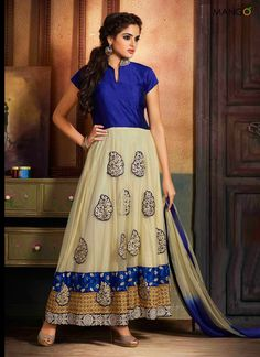 MAGICAL BLUE AND CREAM ANARKALI SUIT  CODE:-7278 PRICE:-3149/-