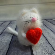 White cat with heart - Hand-Knitted Miniature cat Amigurumi Pet Kitten Animals stuffed cat knitted animals stuffed cats Valentine's  gift by MiracleStore on Etsy