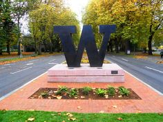 The Washington W welcomes you to the campus.