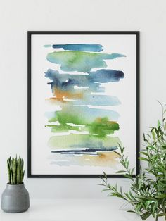 Original abstract watercolor print by Asara Design. See link to shop! Watercolor Clipart, Watercolor Painting Techniques, Watercolor Paintings Abstract, Watercolor Landscape, Watercolor Print, Painting & Drawing, Art Paintings, Watercolor Artists, Painting Lessons