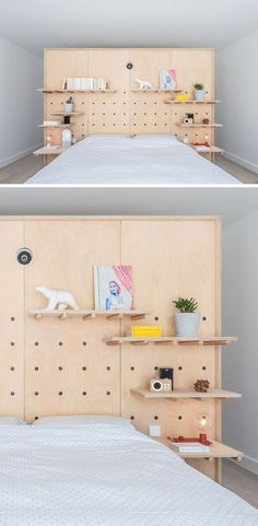 Design Detail – Peg Board Walls Have Been Used To Create Flexible Shelving In This Apartment - This modern apartment uses minimalist wood pegboard walls in the living room and master bedroom to - Modern Bedroom Design, Decor Interior Design, Furniture Design, Diy Design, Custom Design, Peg Board Walls, Peg Boards, Diy Peg Board, Peg Wall