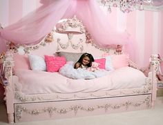 Pink Princess Daybed - Fantasy beds are available either off-the-shelves or can be custom-built. Popular themes like Princess, and castles are usually available readily, but others like trucks, boats, need to be ordered specially.