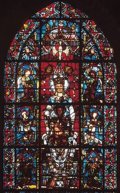 Virgin and Child and angels, window in the choir of Chartres Cathedral, Chartres, France, c. 1170, stained glass