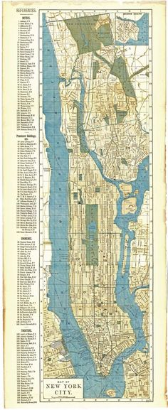 "ANTIQUE 1891 NEW YORK CITY MAP~11"" X 27""~HOTELS/THEATERS/BLDGS/CHURCHES/R.R./ETC 