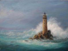 Lighthouse Canvas Print / Canvas Art by Rita Palm Fine Art Amerika, Lighthouse Painting, Image Nature, Lighthouse Pictures, Images Vintage, Coastal Art, Arte Pop, Seascape Paintings, Ocean Art