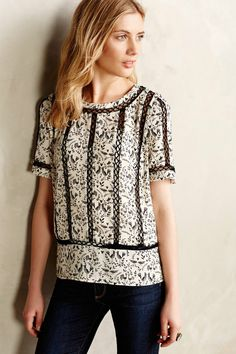 Anthropologie Fasion Birds Floral Blouse by Meadow Rue Black Ivory Size M | eBay