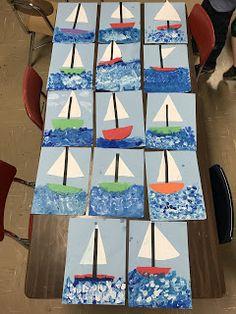 Elements of the Art Room: grade Sailboats Kindergarten Art Activities, Art Activities For Toddlers, Kindergarten Art Projects, Preschool Art Lessons, Boat Crafts, K Crafts, Preschool Crafts, 1st Grade Crafts, Transportation Theme Preschool