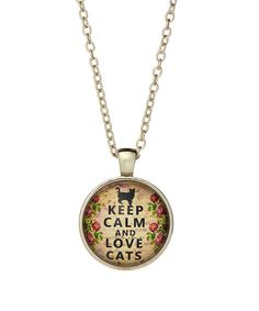 Look at this Silvertone 'Keep Calm and Love Cats' Necklace on #zulily today!