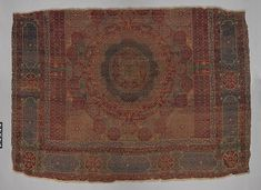 Mamluk Carpet  Object Name:Carpet Date:early 16th century Geography:Attributed to probably Egypt, probably Cairo Culture:Islamic Medium:Wool, (warp, weft and pile); asymmetrically knotted pile Dimensions:Rug: H. 84 in. (213.4 cm) W. 105 in. (266.7 cm) Accession Number:22.100.52