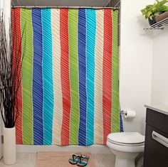 Beach Stripes Shower Curtains by Janet Antepara. #showercurtain #bathroom #homedecor #home #curtain #bath #shower #stripes #geometric