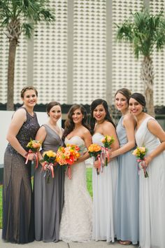 Bridal Party Wedding Portrait with Mismatched Grey Bridesmaids Dresses and Strapless Beaded Lace Wedding Dress from Isabel O'Neil Bridal Collection   Photography by Roohi Photography   Tampa Wedding Hair and Makeup by Lasting Luxe