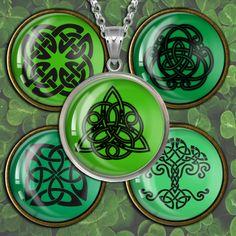 Green Celtic Knots Circle Images Digital Collage Sheet - Bottlecap4u