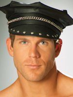 Men's Leather Hat with Chain Detail at eroticnights4u.com