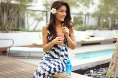 'Rise & shine with a Sunrise @ZICOcoconut Smoothie. Since I'm always on the run, this smoothie is what keeps me energized and gets my day started the right way. Being from Thailand, I know the great nutritional benefits of coconut juice and I'm so excited that now we are able to enjoy it here in the states! Recipe: 1 ZICO all natural coconut water, 4 strawberries, ginger slice, orange juice, pineapple chunks, mangos, and soy milk.'