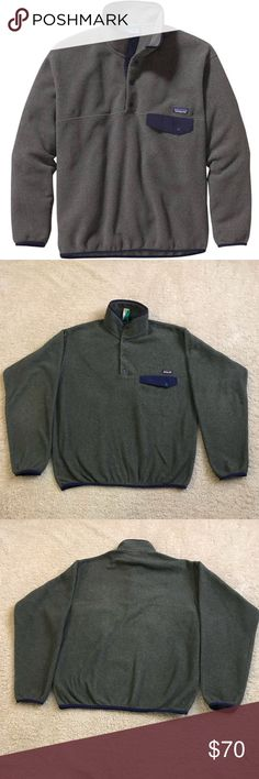 Patagonia Synchilla A classic, hard-wearing fleece for just about all activities Heavyweight fleece is warm and bluesign approved Y-joint sleeves provide unimpeded mobility Snap placket offers on-the-go temperature regulation Chest pocket keeps small necessities close the snap broke off from the pocket look at last picture for reference Patagonia Sweaters