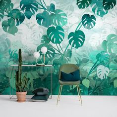 Interior image of the Monstera wallpaper from Mr Perswall. This wallpaper features Monstera leaves in different shades of green. Edison House, Wallpaper Suppliers, Different Shades Of Green, Shadow Play, Print Wallpaper, Wallpaper Ideas, Bespoke Design, Designer Wallpaper, Scandinavian Design