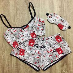 Cotton pajama set/ Women's pajamas/ Pajama top and shorts/ Sleepwear/ Nightwear Cute Lingerie, Lingerie Outfits, Cute Pajamas, Pajamas Women, Cute Sleepwear, Matching Family Pajamas, Cute Lazy Outfits, Pajama Outfits, Trendy Swimwear