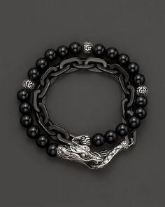 John Hardy Men's Naga Double Wrap Bracelet with Black Onyx   Bloomingdales's