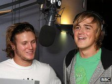 """Dougie Poynter and Tom Fletcher from McFly Write children;s book : """"The Dinosaur that Pooped Christmas"""" OCT 2012"""