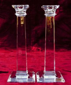 "Pair of Mikasa Platinum Crystal Glass Candle Sticks Holders 10"" Tall Mint | eBay"