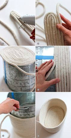 DIY un panier en corde. No-Sew Rope Basket / alice & loisDIY No-Sew Rope Basket / alice & lois. I love the look of this but would sew it after gluing it.DIY No-Sew Rope Basket / alice & lois by Nancy Oberlin Could paint it to match furniture tooDIY y Rope Basket, Basket Weaving, Basket Bag, Rope Crafts, Diy And Crafts, Yarn Crafts, Sisal, Creation Deco, Diy Home Decor On A Budget