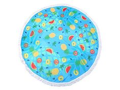 Round Beach Towel Blue Fruit Print Wrap Poncho with Tassel Trim 336514