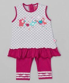 Look what I found on #zulily! Gray Polka Dot Bird Tunic & Purple Stripe Leggings - Infant by Blanc de Blanc #zulilyfinds