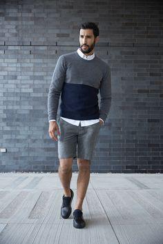 Textured Color Block Sweater | $75 | Jasper Oxford in White | $45 | Bolton Linen Shorts in Coal | $60 |