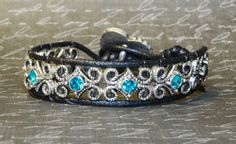 Blue Zircon Swarovski Crystal Wrap Bracelet by DesignsByJen1,