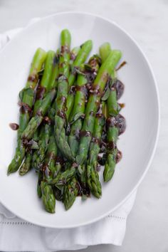 Asparagus salad with balsamic glace dressing is the perfect side dish for a quick spring meal. Pair it with whatever protein you like. Vegan Gluten Free, Vegan Vegetarian, Asparagus Salad, Balsamic Glaze, Cook Books, Spring Recipes, Serving Dishes, Healthy Eats, Food Inspiration