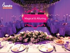 A perfect way to give enchanting look to your setup. Are you also dreaming of a tablescape like this on your big day?  #ChandraWeddings #RoyalWeddings #Rajasthan #PurplePerfection