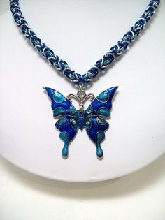 Butterfly necklace chainmaille jewelry by Eternalelfcreations, $35.00