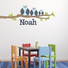 Alphabet Garden Designs Owl Family Boy Wall Decal Vinyl Color: Cranberry, Branch Direction: Left