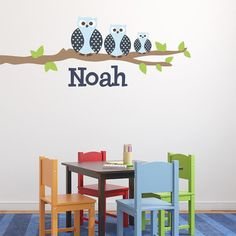 Alphabet Garden Designs Owl Family Boy Wall Decal Vinyl Color: Dark Blue, Branch Direction: Left