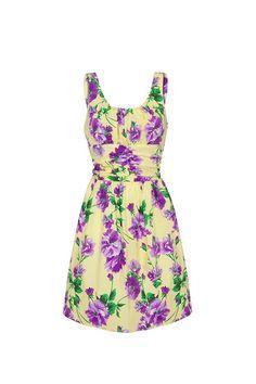 FLORAL RETRO SUMMER DRESS YELLOW £35