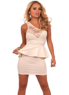 Lisas Fine Lingerie: womens sexy tube dresses: Sleeveless One Strap Lace Panel Sweetheart Peplum Evening Cocktail Dress S M L
