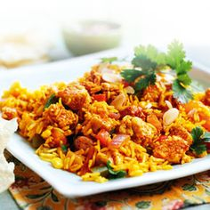 Biriyani with Quorn Pieces - This Quorn Biriyani includes succulent Quorn Chicken style pieces and with just saturated fat, - # Quorn Recipes, Veggie Recipes, Pasta Recipes, Cooking Recipes, Chilli Recipes, Veggie Meals, Veggie Food, Vegetarian Chicken, Best Vegetarian Recipes