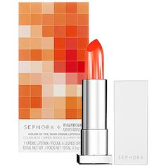 Shades of orange and tangerine make great lipstick colors for darker skin.    Sephora + Pantone Universe Tangerine Tango Cream Lipstick