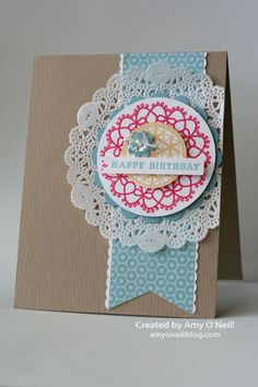Delicate Doilies and From the Heart Stamp sets, paper Doily Pretty Girly Birthday Cute Cards, Diy Cards, Your Cards, Handmade Birthday Cards, Greeting Cards Handmade, Cadeau Design, Paper Doilies, Creative Cards, Scrapbook Cards