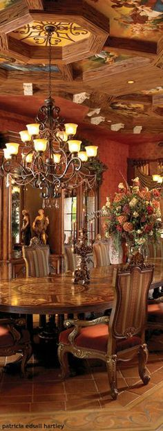 Tuscan opulence for a dining room.