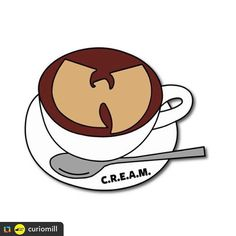 """#Repost @mrwahiwahi  @curiomill:Coffee & C.R.E.A.M. #pin by @mrwahiwahi now live on #curiomill Represent your favorite clan and drink with the """"Coffee & C.R.E.A.M."""" Pin on @curiomill website (link in bio) 25 preorders needed to be made! if not don't worry you'll get your money back"""