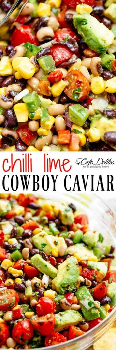Chili Lime Texas Caviar (Cowboy Caviar) - Julia Make - Ensaladas de Frutas Postres Mexican Food Recipes, Vegetarian Recipes, Cooking Recipes, Healthy Recipes, Ethnic Recipes, Appetizer Recipes, Salad Recipes, Appetizers, Dinner Recipes