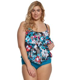 ca6ddf526d2 Maxine Plus Size Pop Floral Tiered Tankini Top at SwimOutlet.com - Free  Shipping