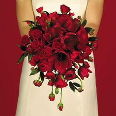 Red roses and amaryllis wedding bouquet