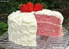 Strawberry Cake -Version #2 {A Scratch Recipe} Strawberry Cake From Scratch, Homemade Strawberry Cake, Strawberry Cake Recipes, Cake Recipes From Scratch, Strawberry Cake Decorations, Strawberry Sweets, Strawberry Buttercream, Strawberry Blonde, Brownie Desserts