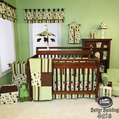 Baby Boy Girl Neutral Kid Brown Green Dot For Crib Nursery Newborn Bedding Set