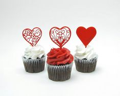 Red Hearts Cupcake Toppers by JourneyProductions on Etsy